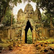 West gate to Angkor Thom in Cambodia.